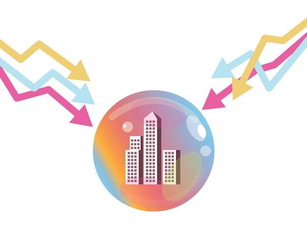 Wykres giełdowy w dół, aby pop bąbelkowego nieruchomości. koncepcja kryzysu finansowego.