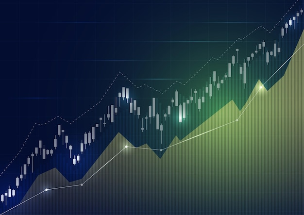 Wykres giełdy finansowej na giełdzie inwestycyjnej, punkt zwyżkowy, punkt niedźwiedzi. trend wykresu dla pomysłu na biznes i całego projektu dzieła sztuki. ilustracji wektorowych.