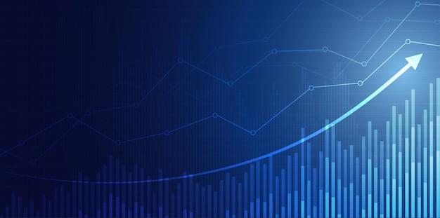Wykres giełdy finansowej w handlu inwestycjami na giełdzie punkt zwyżkowy punkt zwyżkowy