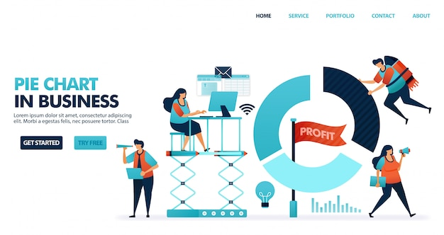 Wykres kołowy dla raportów w biznesie, raport zysków firmy
