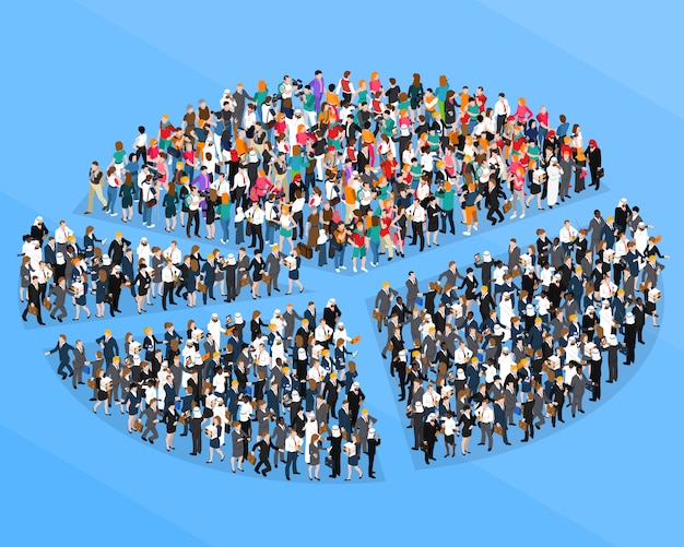 Wykres kołowy izometryczny tłum ludzi