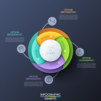 Wykres kołowy podzielony na cztery kolorowe spiralne części połączone piktogramami i polami tekstowymi. koncepcja czterech opcji do wyboru.