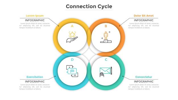 Wykres kołowy składał się z 4 przecinających się lub nakładających się okrągłych elementów. koncepcja cyklu produkcyjnego z czterema etapami. szablon projektu kreatywnych plansza. ilustracja wektorowa do raportu biznesowego.