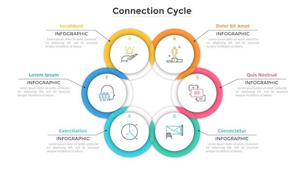 Wykres kołowy składał się z 6 przecinających się lub nakładających się okrągłych elementów. koncepcja cyklu produkcyjnego z sześcioma etapami. szablon projektu kreatywnych plansza. ilustracja wektorowa do raportu biznesowego.