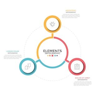 Wykres kołowy. trzy kolorowe okrągłe elementy z liniowymi symbolami wewnątrz umieszczone wokół centralnego. koncepcja 3 opcji biznesowych do wyboru. minimalny szablon projektu plansza.