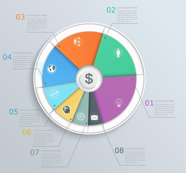 Wykres kołowy z ikonami infografiki dla sieci web i mobilnej struktury krokowej banera układu biznesowego przepływu pracy