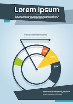 Wykres kołowy z procentową ulotka wykresu finansowego