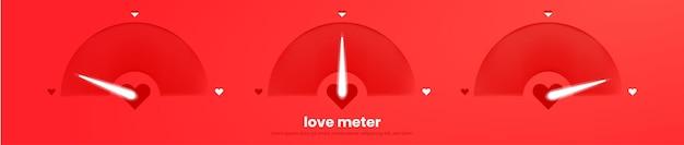 Wykres miernika miłości. romantyczna infografika z sercem. minimalistyczny projekt szablonu w czerwonych kolorach na 14 lutego lub na walentynki.