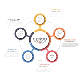 Wykres okrągły. pięć kolorowych okrągłych elementów z ikonami cienkiej linii wewnątrz umieszczonych wokół centralnego. koncept 5 opcji biznesowych do wyboru. prosty plansza projekt układu. ilustracja wektorowa.