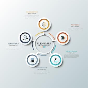 Wykres okrągły. pięć papierowych białych okrągłych elementów z kolorowymi ramkami i płaskimi symbolami wewnątrz umieszczonych wokół środka. koncepcja 5 opcji biznesowych. szablon projektu plansza. ilustracja wektorowa