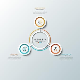 Wykres okrągły. trzy papierowe białe okrągłe elementy z kolorowymi ramkami i płaskimi symbolami wewnątrz umieszczone wokół środka. koncepcja 3 opcji biznesowych. szablon projektu plansza. ilustracja wektorowa