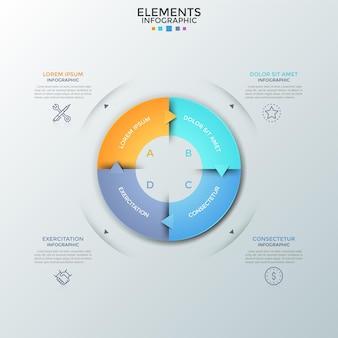 Wykres pierścieniowy podzielony na 4 kolorowe równe części ze strzałkami, liniowymi ikonami i polami tekstowymi. koncepcja zamkniętego cyklu produkcyjnego z czterema krokami. szablon projektu nowoczesny plansza. ilustracja wektorowa.