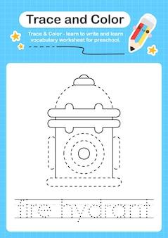 Wykres śladu hydrantu przeciwpożarowego i kolorowy przedszkolny arkusz dla dzieci do ćwiczeń małej motoryki
