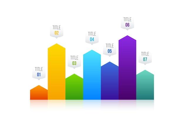 Wykres słupkowy biznes infografiki wektor projekt może służyć do układu przepływu pracy, diagramu, raportu rocznego, projektowania stron internetowych. koncepcja biznesowa z 7 opcjami, krokami lub procesami.