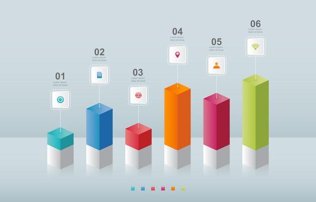 Wykres słupkowy diagram wykresu biznesowego infografika elementu