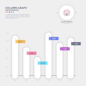 Wykres słupkowy lub diagram porównawczy z zaokrąglonymi białymi kolumnami papieru umieszczonymi na osi poziomej, wskazaniem liczby lub ułamka i miejscem na tekst. szablon projektu kreatywnych plansza. ilustracja wektorowa.