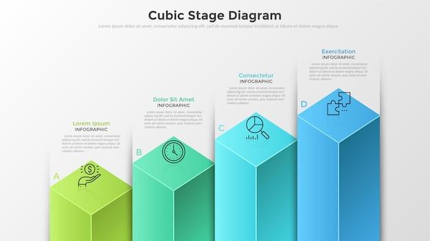 Wykres słupkowy lub diagram z 4 kolorowymi kolumnami sześciennymi, literami, symbolami cienkich linii i polami tekstowymi. koncepcja czterech etapów rozwoju biznesu. szablon projektu nowoczesny plansza.
