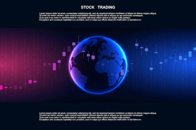 Wykres słupkowy świecy na rynku finansowym, na rynku forex. rynek giełdowy, inwestycje, finanse i handel. platforma handlowa