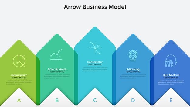 Wykres słupkowy z pięcioma kolorowymi półprzezroczystymi strzałkami ułożonymi w poziomym rzędzie. szablon projektu kreatywnych plansza. model biznesowy z 5 strategicznymi krokami. ilustracja wektorowa do wizualizacji procesu.