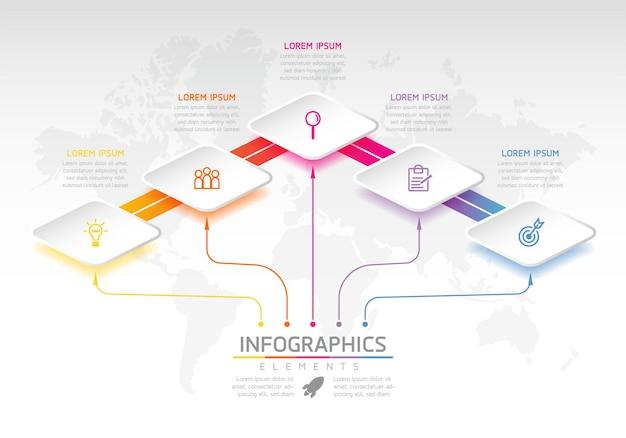 Wykres Szablonu Projektu Infografiki Z 3 Opcjami Lub Krokami Premium Wektorów