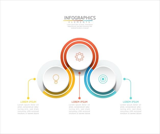 Wykres szablonu projektu infografiki z 3 opcjami lub krokami