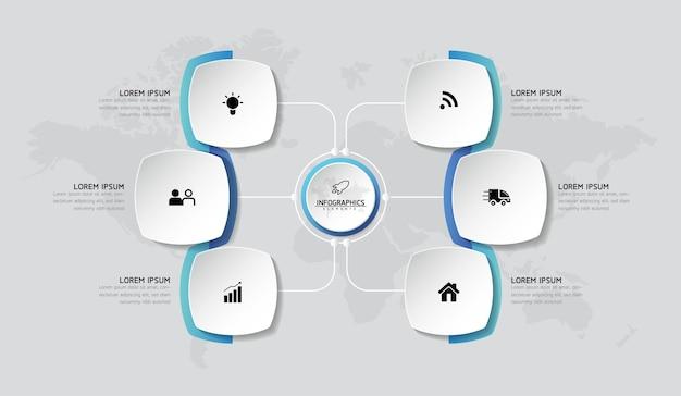 Wykres szablonu projektu infografiki z 6 opcjami lub krokami
