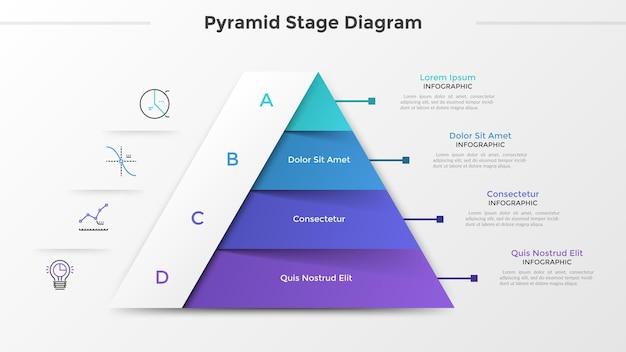 Wykres trójkątny lub diagram piramidy podzielony na 4 części lub poziomy, ikony liniowe i miejsce na tekst. koncepcja czterech etapów rozwoju projektu. szablon projektu plansza. ilustracja wektorowa.