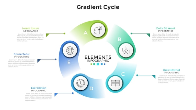 Wykres w kształcie pierścienia z 5 okrągłymi białymi elementami, liniowymi ikonami, literami i miejscem na tekst. koncepcja procesu cyklicznego z sześcioma etapami. szablon projektu kreatywnych plansza. ilustracja wektorowa.