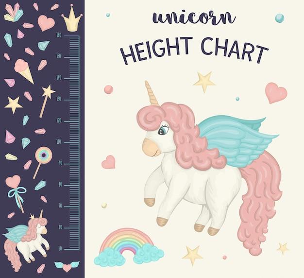 Wykres wysokości jednorożca. obraz z różowymi dziewczęcymi elementami dla dzieci. skala pomiarowa z tęczą, gwiazdami, chmurą, magiczną różdżką, koroną, kryształami.