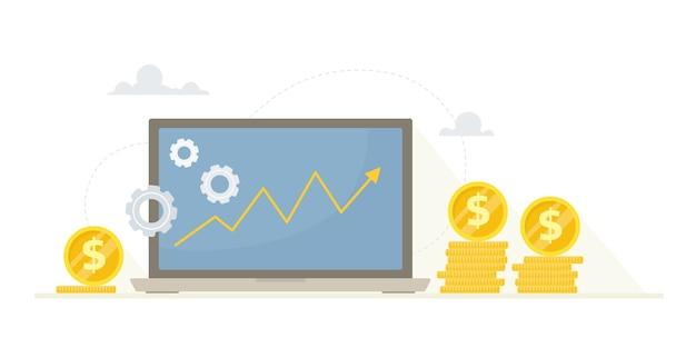 Wykres wzrostu dochodów na monitorze komputera. .