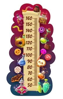 Wykres wzrostu dzieci halloween zwój ze słodyczami
