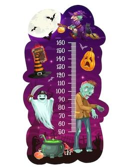 Wykres wzrostu dzieci z kreskówek halloween potwory, miernik miary wzrostu, tło wektor. miarka wzrostu dla dzieci lub skala miar dla dzieci z świąteczną dynią halloween, duchami czarownic i zombie