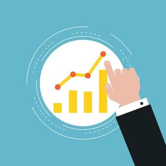 Wykresy biznesowe wykresy płaskie ilustracja projektu