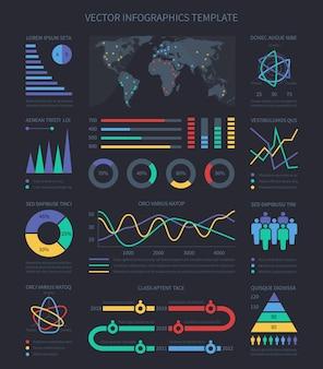 Wykresy danych i diagramy, elementy demograficzne infografiki do prezentacji marketingowej