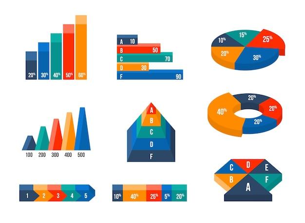 Wykresy, diagramy i wykresy w nowoczesnym izometrycznym stylu 3d płaski. prezentacja infograficzna, projektowanie finansów danych