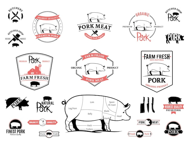 Wykresy etykiet z logo wieprzowiny i elementy projektu