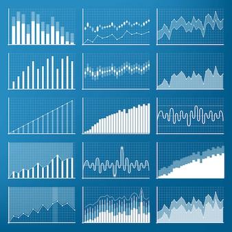 Wykresy finansowe danych biznesowych. schemat finansowy.