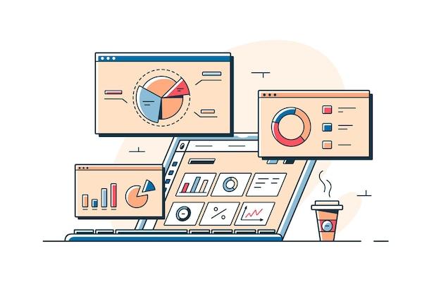 Wykresy i analiza statystyk na ilustracji wektorowych ekranów