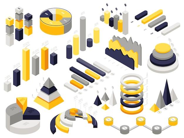 Wykresy izometryczne plansza. infografika elementów biznesowych 3d, wykresy diagramów prezentacji izometrycznej.