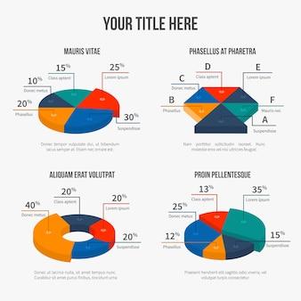 Wykresy kołowe wektorowe w nowoczesnym stylu 3d płaski. prezentacja infograficzna, grafika finansowa, dane odsetkowe