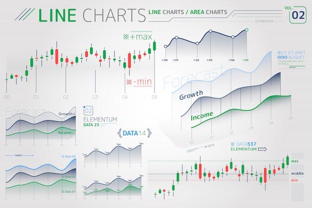 Wykresy liniowe i wykresy obszarowe elementy infographic