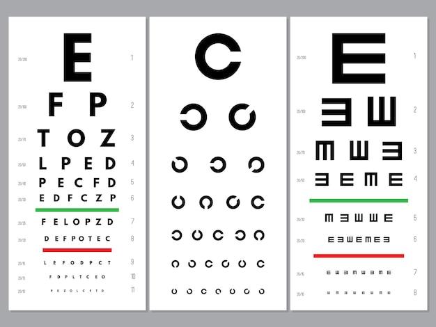 Wykresy oczu. okulistyka test wzroku alfabet i litery litery alfabetu optycznego