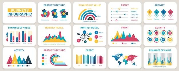 Wykresy prezentacji biznesowych. raporty finansowe, wykresy danych marketingowych i szablon infografiki. diagram reklamowy, wykres informacyjny paska statystyk lub zestaw wektorów informacji o wzroście działalności