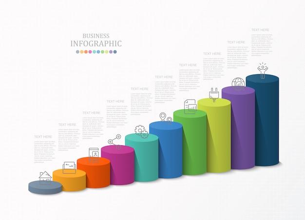 Wykresy słupkowe szablony 3d, plansza dla koncepcji biznesowej.