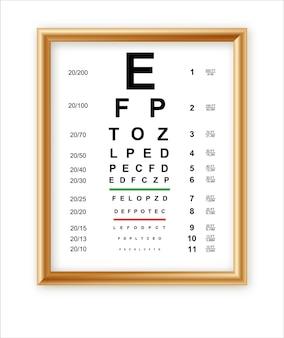 Wykresy testowe oczu z literami łacińskimi na białym tle na projekt sztuki tła plakat medyczny ze znakiem w złotej ramie koncepcja element graficzny do testu okulistycznego do badania wizualnego