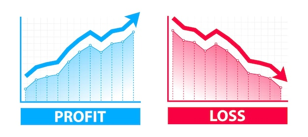 Wykresy wykresów finansowych zysków i strat. niebieska strzałka w górę i czerwona strzałka w dół. handel zyskami i stratami tradera. kryzys finansowy, spadek zysków. koncepcja finansowania wykresu z symbolem strzałki w górę