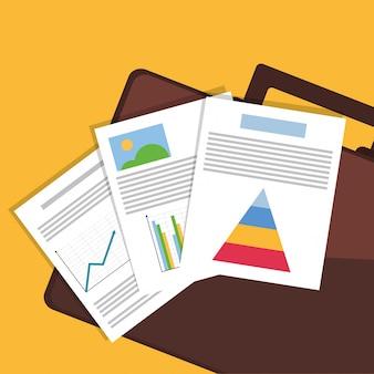 Wykresy wykresy dokumenty papierowe ikona elementów powiązanych z urzędu