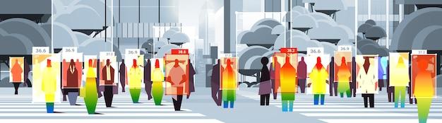 Wykrywanie podwyższonej temperatury ciała biznesmenów chodzących po ulicy miasta sprawdzanie przez bezdotykową kamerę termowizyjną zatrzymaj epidemię koronawirusa koncepcja poziomej ilustracji wektorowych