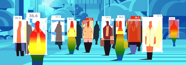 Wykrywanie podwyższonej temperatury ciała biznesmenów spacerujących po miejskiej ulicy, sprawdzających za pomocą bezdotykowej kamery termowizyjnej