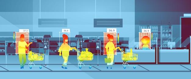 Wykrywanie podwyższonej temperatury ciała ludzi chodzących w supermarkecie sprawdzających przez bezdotykową kamerę termowizyjną zatrzymać wybuch epidemii koronawirusa koncepcja poziomej ilustracji wektorowych